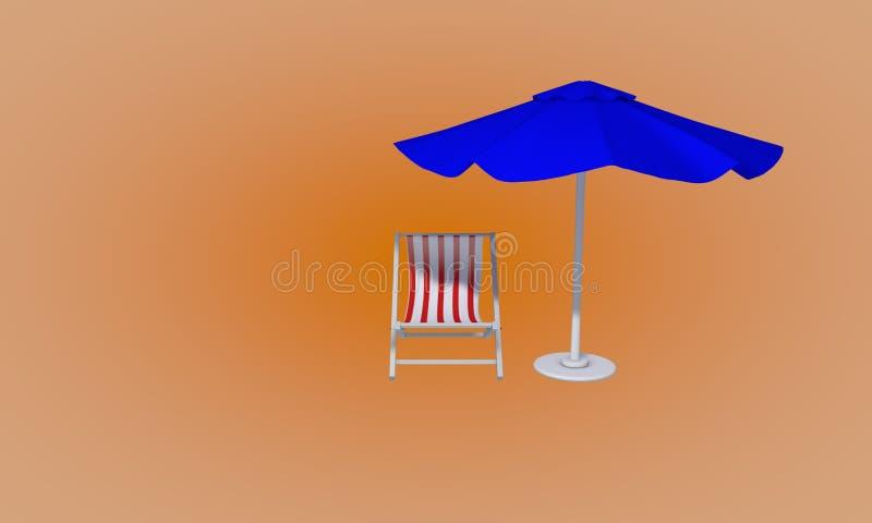 O guarda-chuva de praia e a praia sunbed, 3d rendem ilustração do vetor