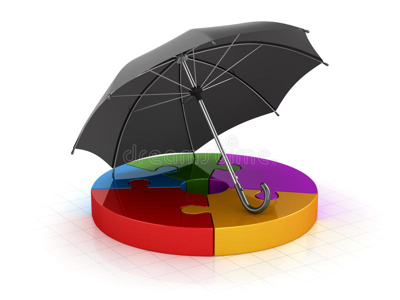O guarda-chuva preto protege para confundir ilustração stock