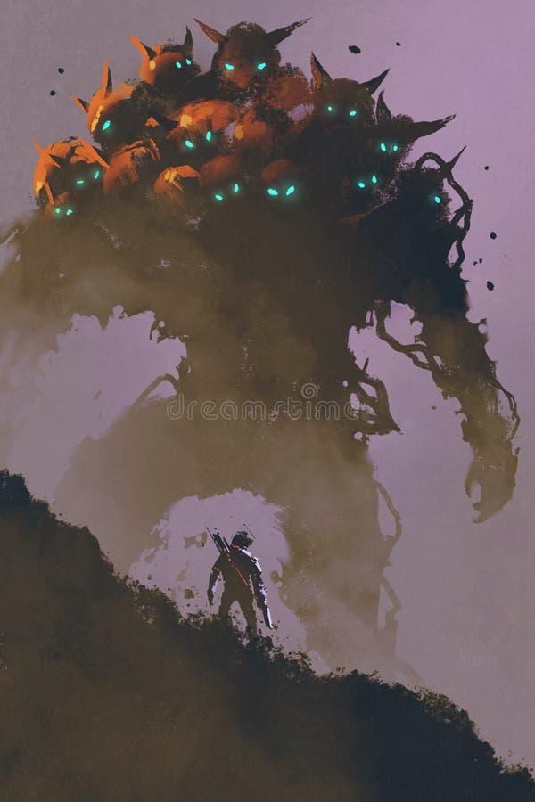 O guerreiro que enfrenta o monstro gigante da multi-cabeça ilustração royalty free