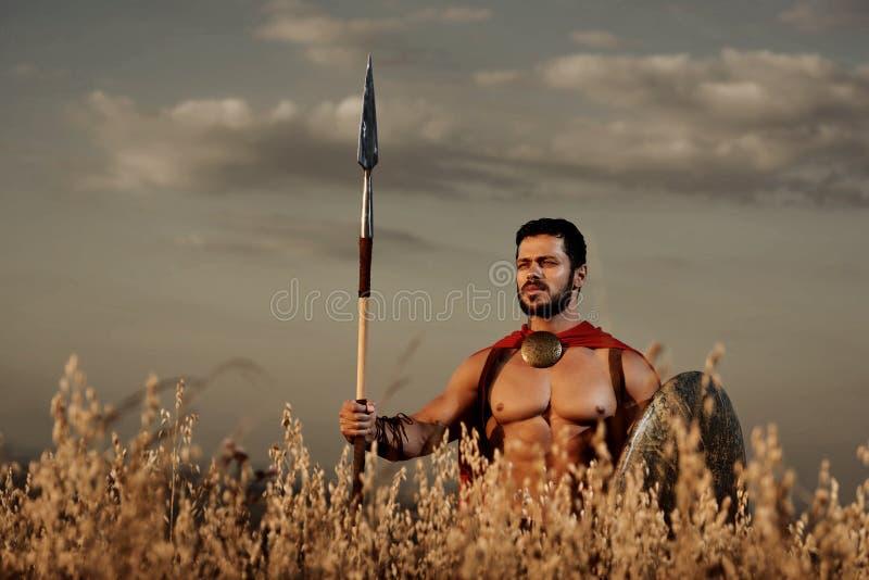 O guerreiro que vestem no casaco vermelho e a armadura gostam espartano fotografia de stock