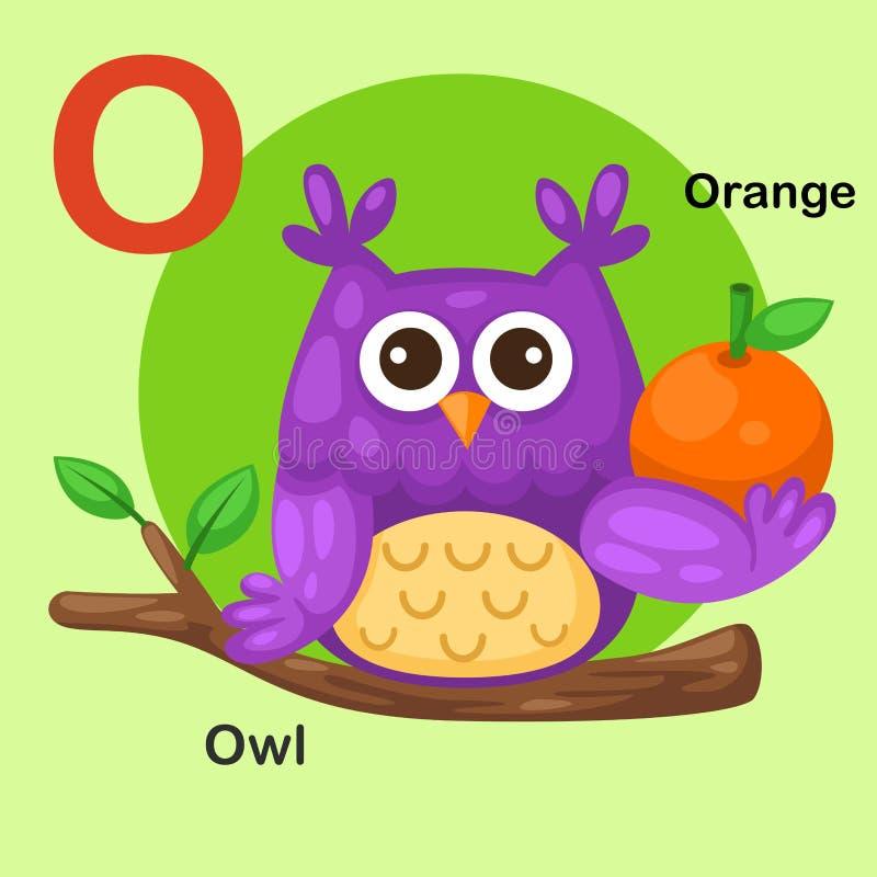 O-gufo animale della lettera di alfabeto isolato illustrazione, arancio royalty illustrazione gratis