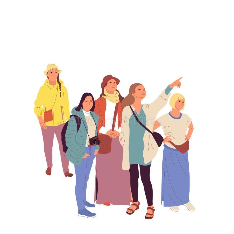 O guia está mostrando ao redor o grupo de turistas fêmeas Isolado no fundo branco Vetor liso do estoque dos desenhos animados do  ilustração do vetor