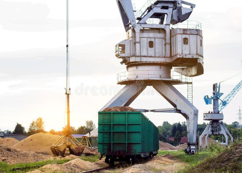 O guindaste do porto faz a carga das microplaquetas de madeira nos carros de frete do trem, carga, o sol imagens de stock royalty free
