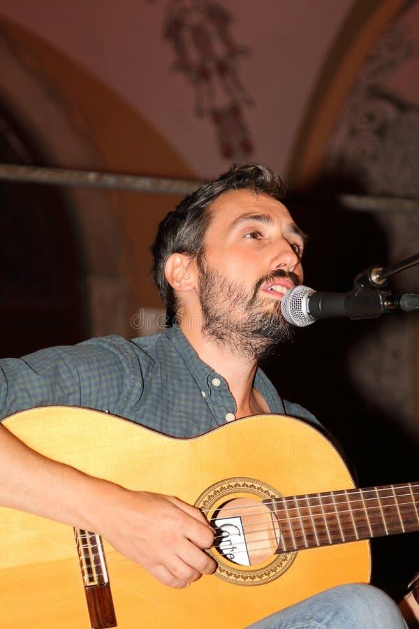 O guitarrista da árvore complexa musical de Birkin durante um concerto em Santa Margherita Ligure Genoa-Italy fotografia de stock