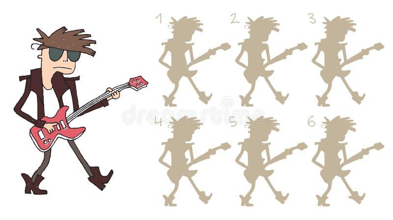 O guitarrista sombreia o jogo visual ilustração stock