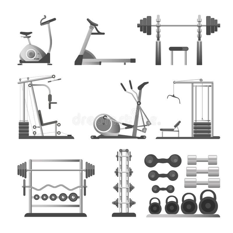 O Gym ou o equipamento e os acessórios de esporte da aptidão vector ícones lisos ilustração stock