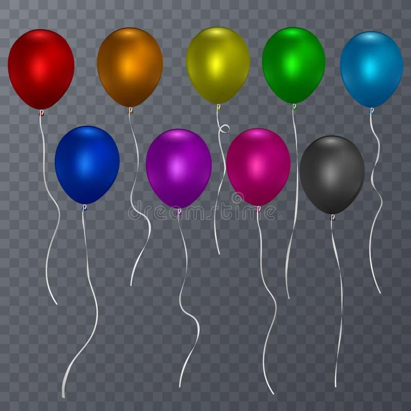 O hélio realístico colorido balloons o fundo transparente Ilustração do vetor ilustração stock