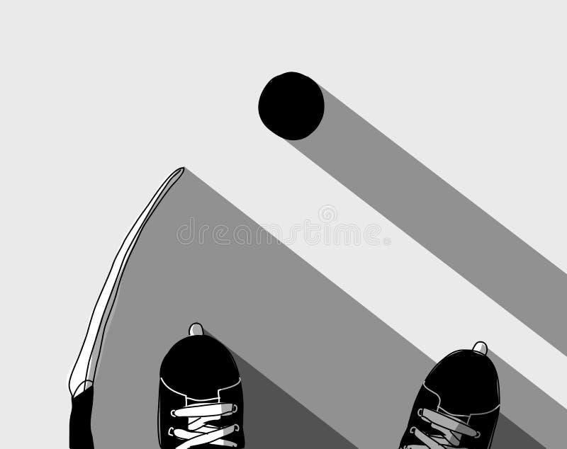 O hóquei em gelo patina grayscale da opinião superior da vara e do disco ilustração stock