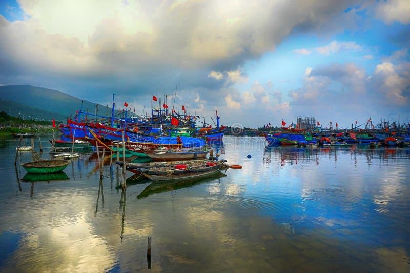 O habour na cidade do Da Nang fotos de stock