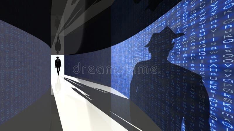 O hacker da elite entra no corredor dos dados ilustração royalty free
