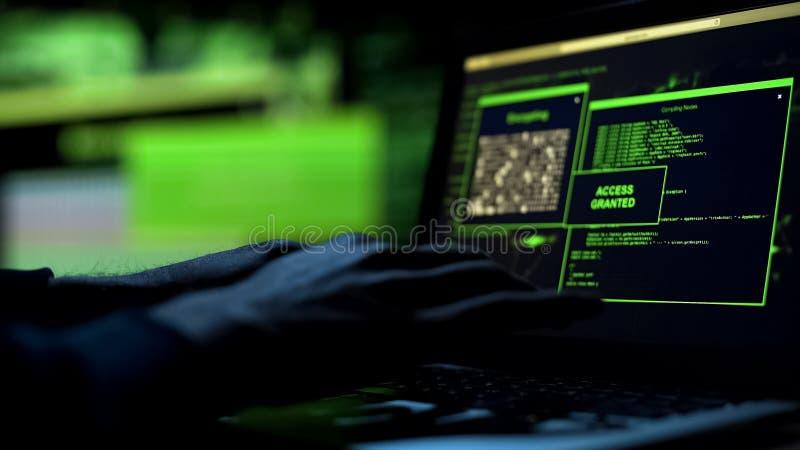 O hacker do close-up entrega o trabalho no portátil, selecionando a senha, acesso concedido fotos de stock royalty free