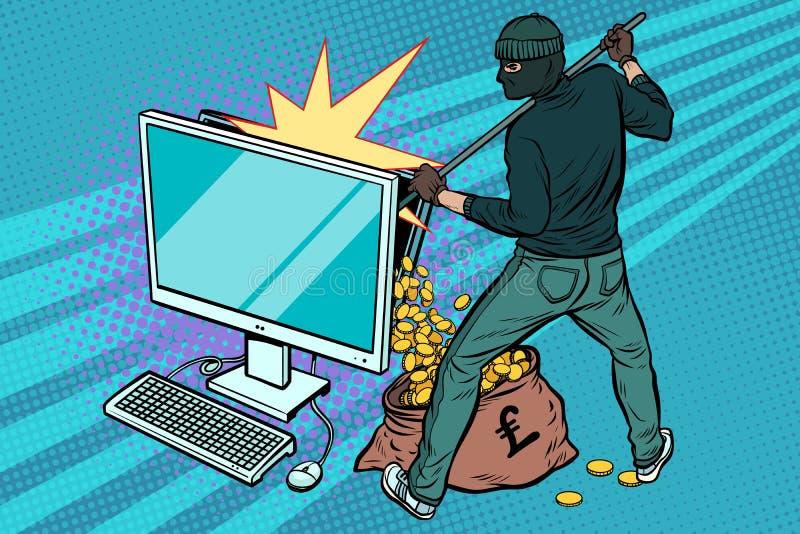O hacker em linha rouba o dinheiro da libra do computador ilustração do vetor