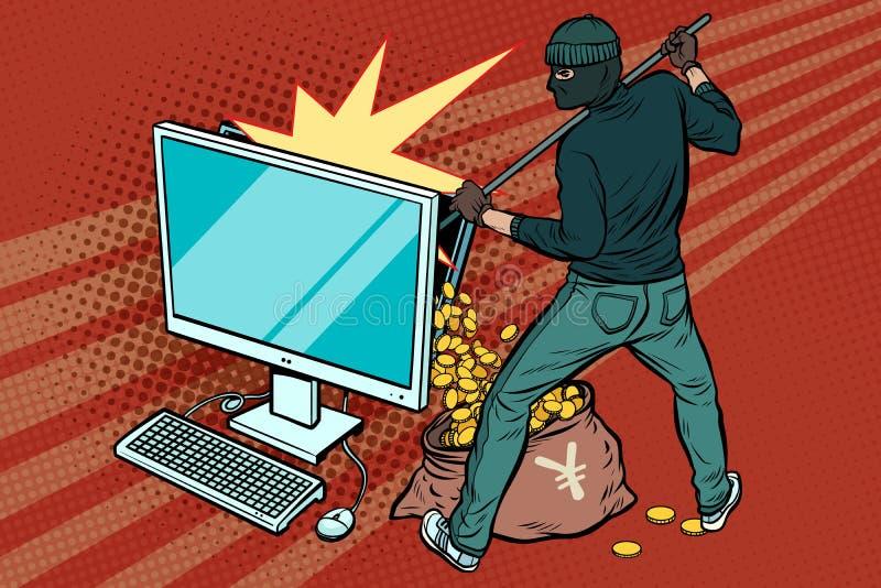 O hacker em linha rouba o dinheiro dos ienes do computador ilustração do vetor