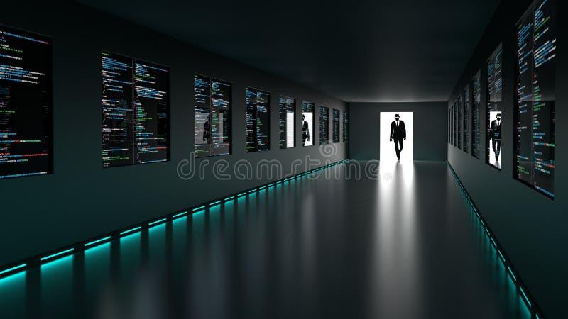 O hacker entra no backdoor à sala do servidor com telas do computercode ilustração do vetor