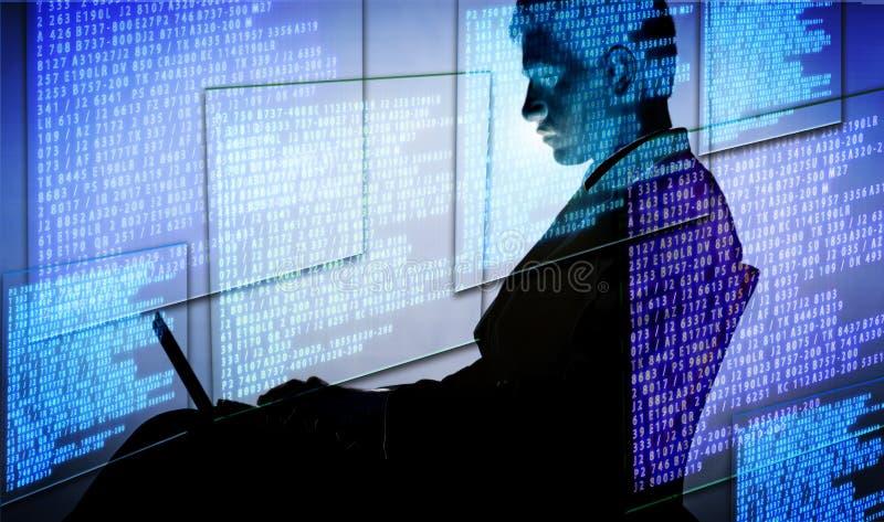 O hacker no conceito digital da segurança fotos de stock royalty free