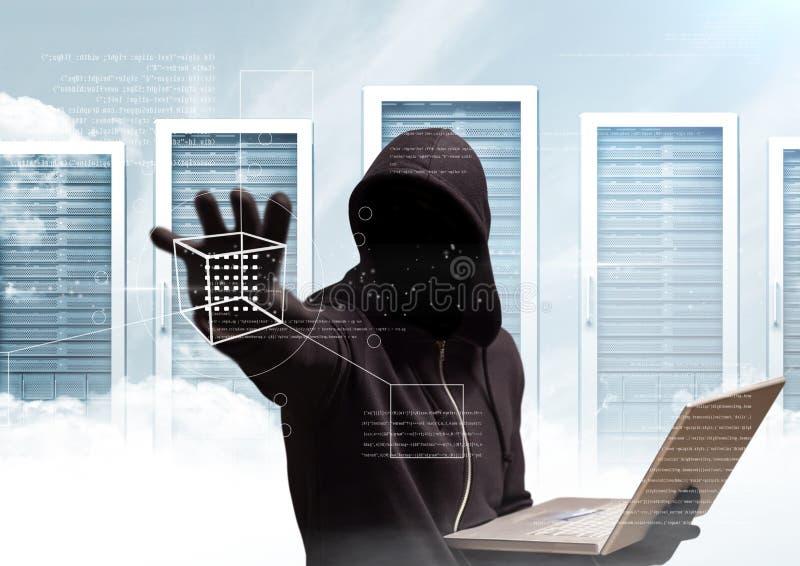 O hacker preto da ligação em ponte com para fora enfrenta senta-se com o computador fundo do servidor ilustração royalty free