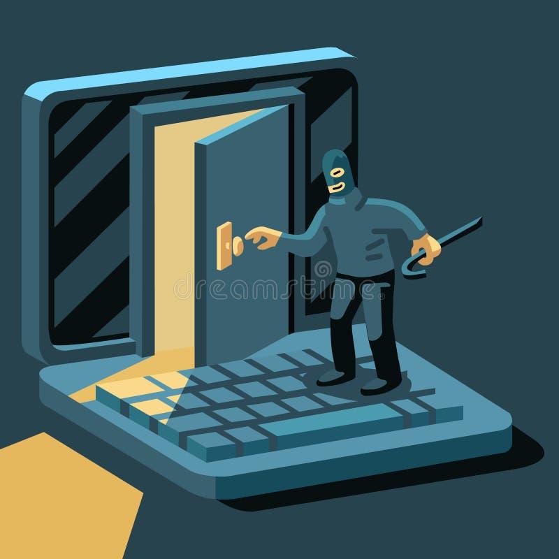 O hacker quebra no computador ilustração do vetor