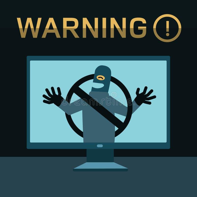 O hacker quebra no computador ilustração stock