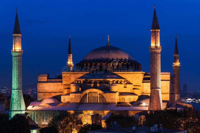 O Hagia Sophia na noite. fotografia de stock