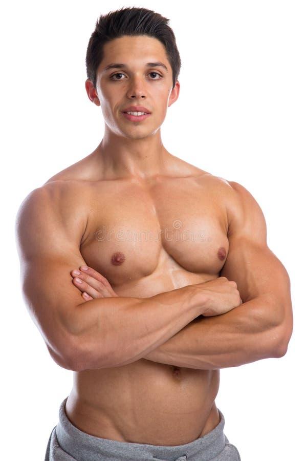 O halterofilismo do halterofilista muscles o youn muscular forte da parte superior do corpo fotos de stock