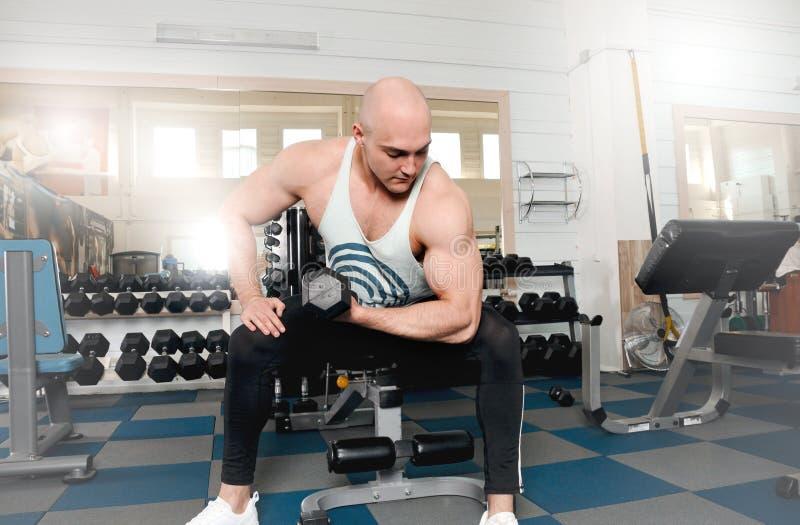 O halterofilista atlético do homem executa o exercício com pesos imagem de stock royalty free