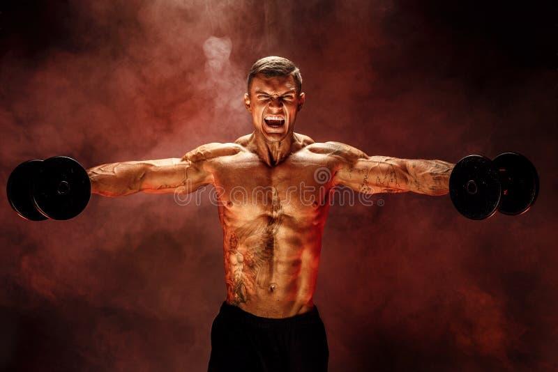 O halterofilista muito forte do indivíduo, executa o exercício com pesos, no ombro do músculo de deltoid foto de stock royalty free