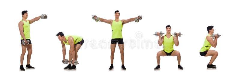 O halterofilista rasgado muscular com pesos imagem de stock