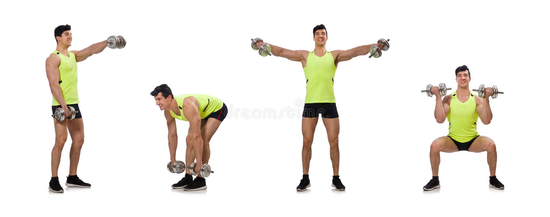 O halterofilista rasgado muscular com pesos fotos de stock