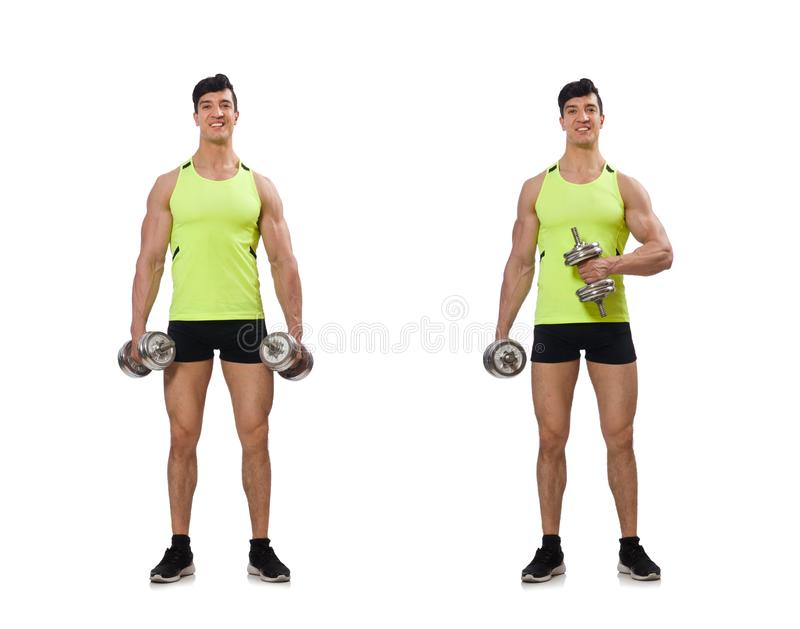 O halterofilista rasgado muscular com pesos foto de stock
