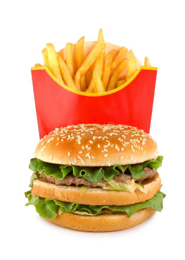 O Hamburger e a batata isolaram-se foto de stock royalty free