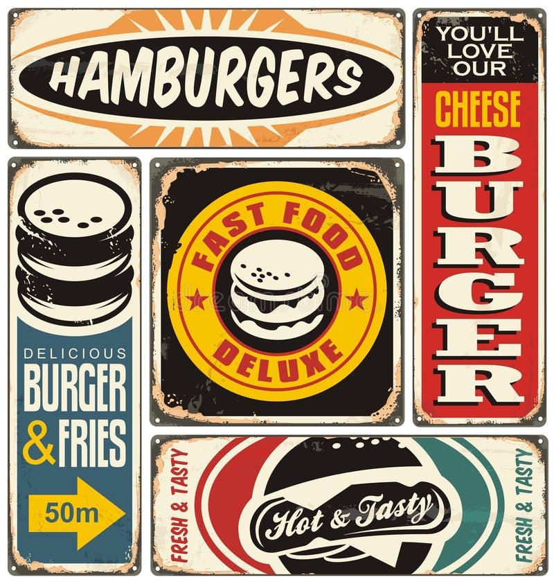O hamburguer retro assina a coleção ilustração stock