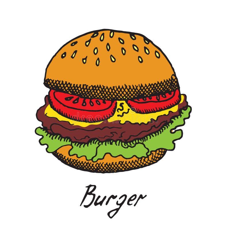 O hamburguer tradicional com fatias frescas de tomates, o queijo cheddar e a alface folheiam ilustração stock