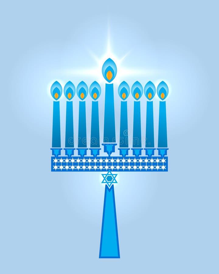 O Hanukkah candles a estrela de David ilustração royalty free