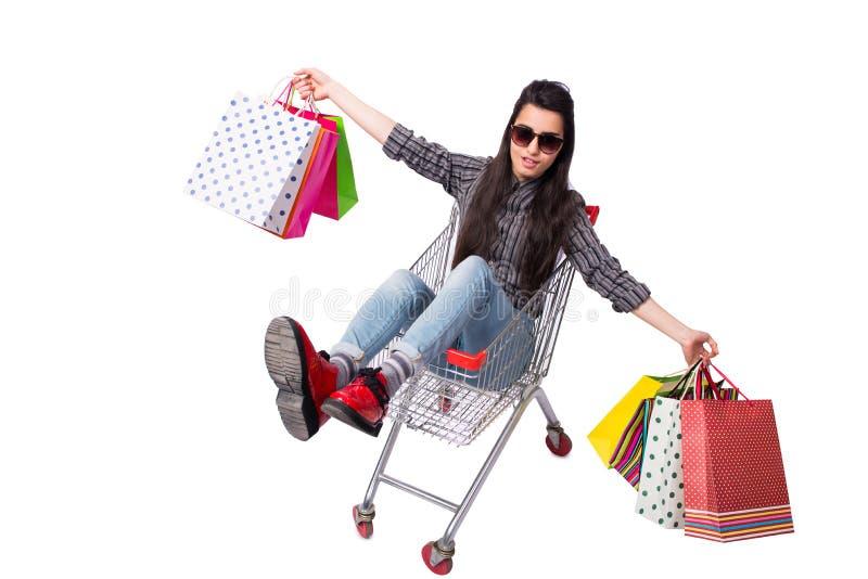 O happer da jovem mulher após a compra isolada no branco imagens de stock royalty free