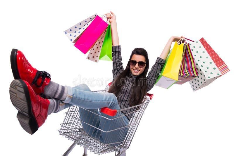 O happer da jovem mulher após a compra isolada no branco foto de stock royalty free
