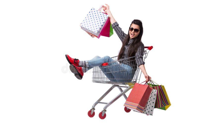 O happer da jovem mulher após a compra isolada no branco imagem de stock royalty free