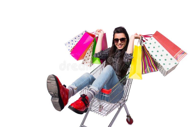 O happer da jovem mulher após a compra isolada no branco fotos de stock royalty free