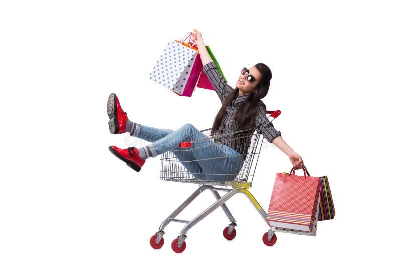O happer da jovem mulher após a compra isolada no branco imagem de stock