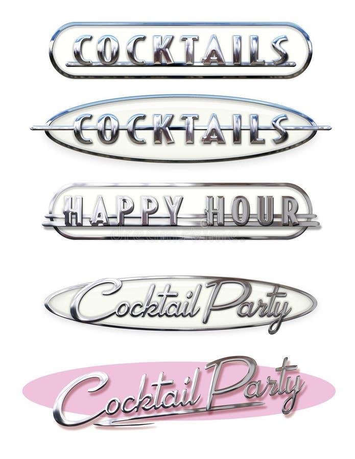 O happy hour do convite do partido de Cockail convida encabeçamentos Chrome ilustração do vetor