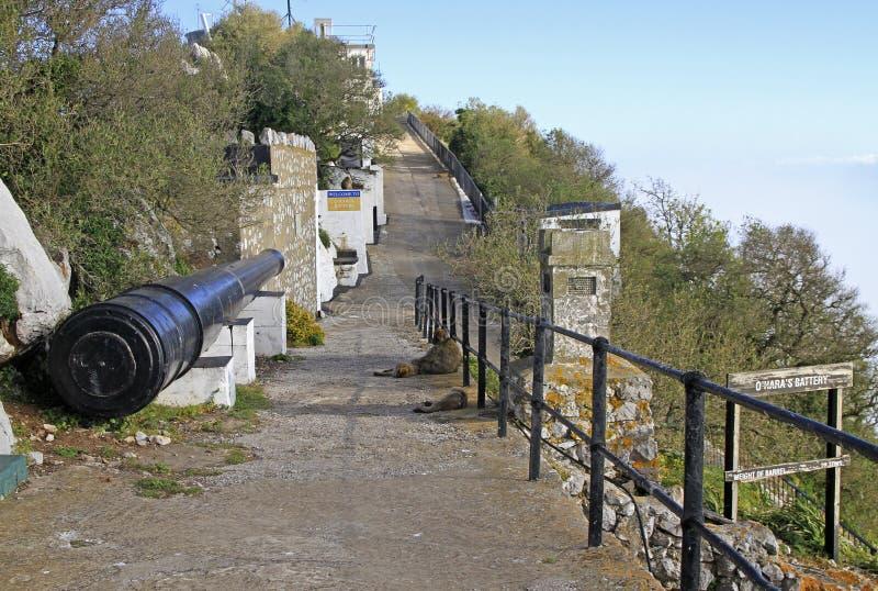 O ` Hara ` s bateria przy Gibraltar skałą obraz royalty free