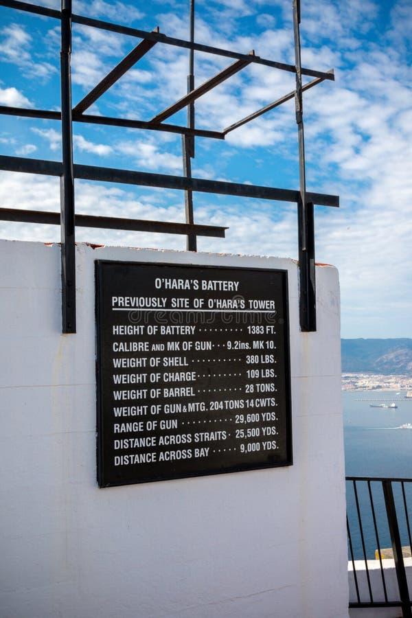 O ` Hara ` s Batterij, op de Rots van Gibraltar stock foto's