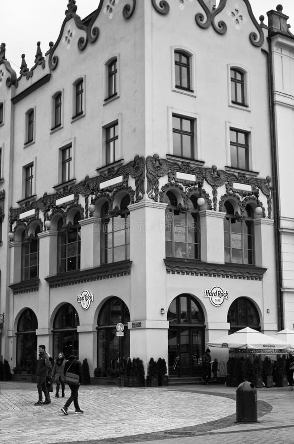 O Hard Rock Café em Cracow, Polônia imagem de stock