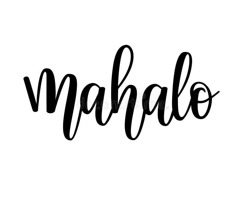O hawaiian do vetor de Mahalo agradece-lhe projeto de rotulação ilustração stock