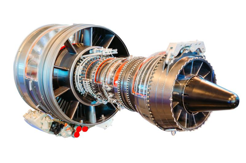 O helicóptero do motor de jato, turbina isolou o fundo branco fotografia de stock