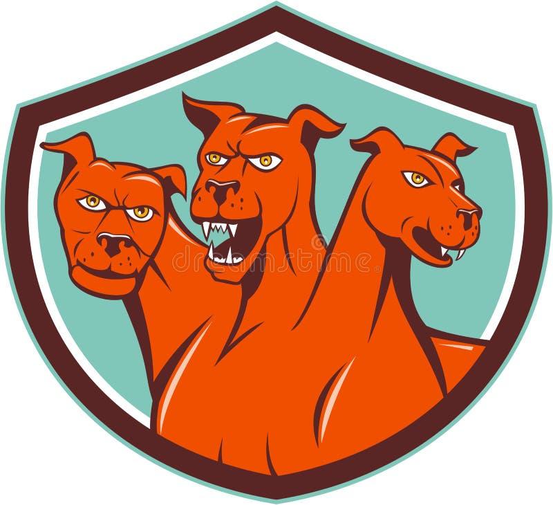 O Hellhound de Cerberus Multi-dirigiu desenhos animados da crista do cão ilustração stock