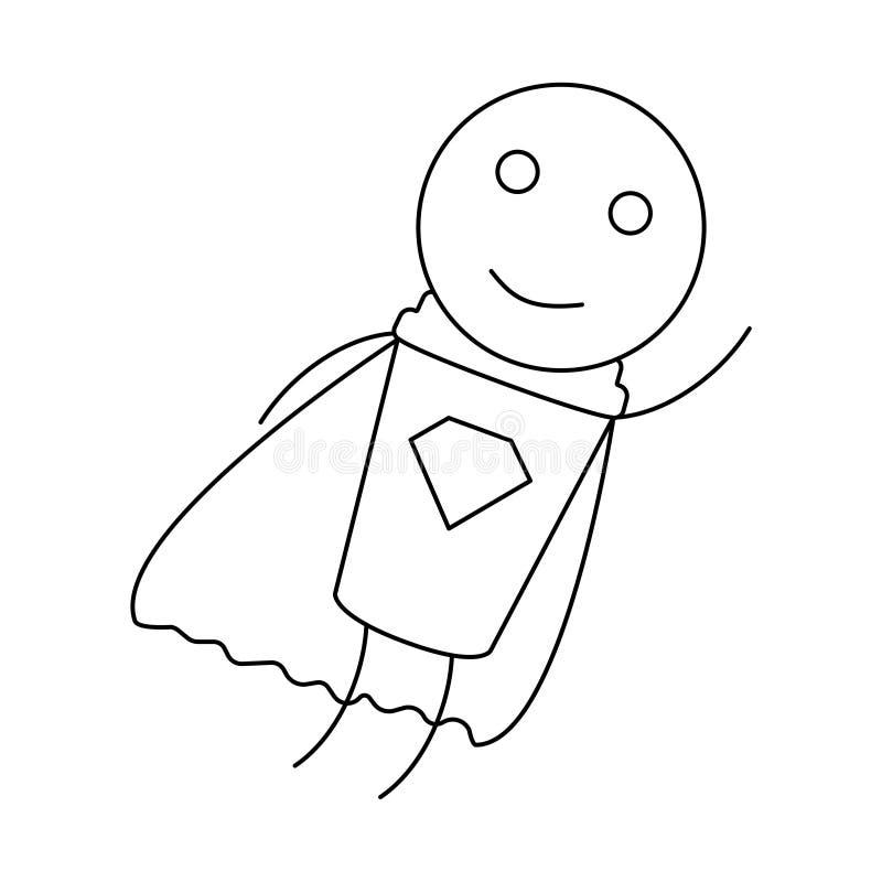 O herói do homem do café fez com copo de papel ilustração do vetor
