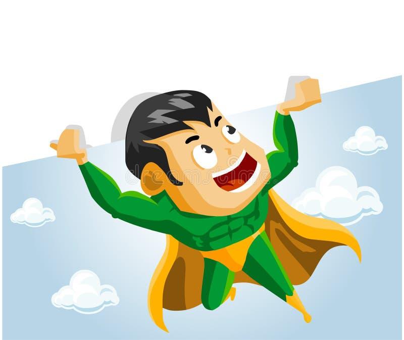 O herói super levanta o sinal ilustração royalty free