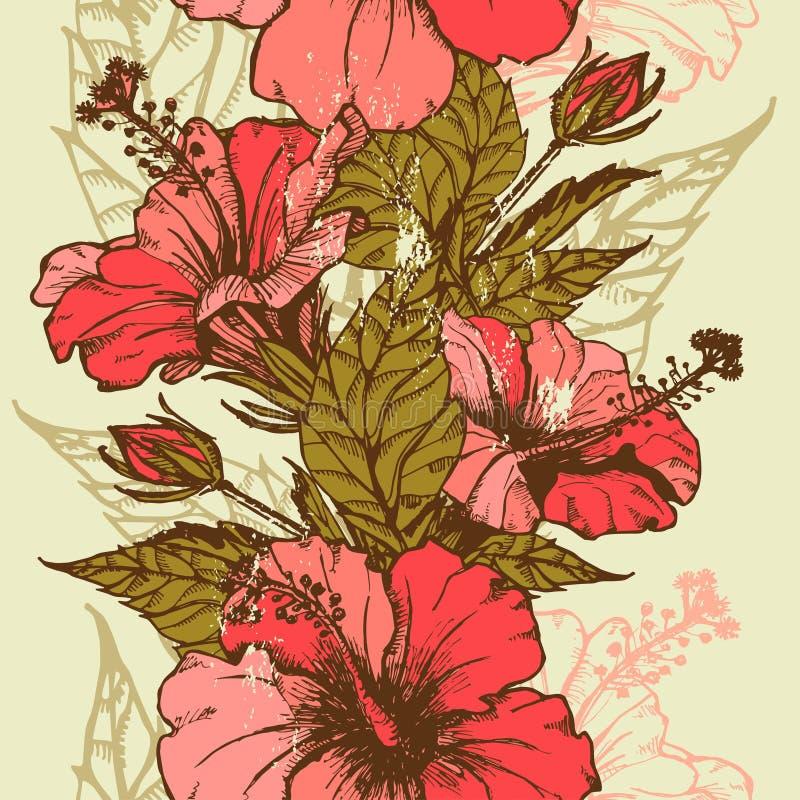 O hibiscus floresce a beira sem emenda ilustração do vetor