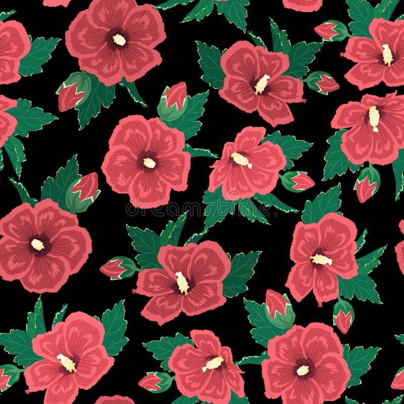 O hibiscus vermelho floresce as folhas verdes no fundo preto da noite Textura floral sem emenda do teste padr?o ilustração stock