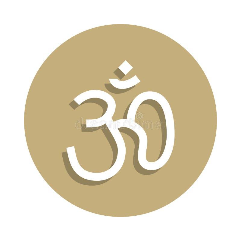 O Hinduísmo OM assina o ícone no estilo do crachá Um do ícone da coleção do símbolo da religião pode ser usado para UI, UX ilustração stock